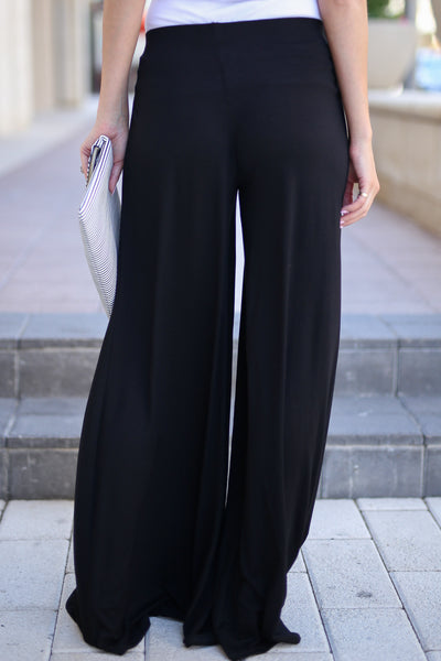 Dream Chaser Pants - Black palazzo pants, back, Closet Candy Boutique