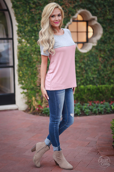 Time Away Top - Mauve womens shirt color block trendy style clothes closet candy boutique