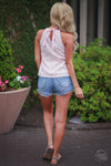 Closet Candy Boutique, trendy women's tops, spring tops, summer outfit, summer style, eyelet top, back view