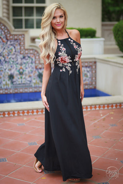 Closet Candy Boutique - Floating On Clouds Maxi Dress, floral embroidered dress for spring and summer, embroidery, front view