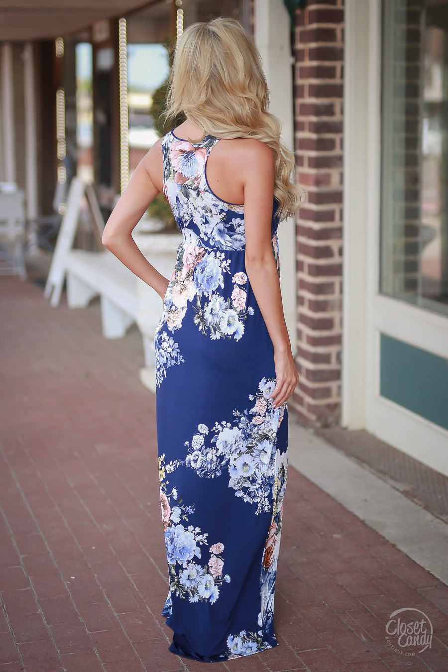 Garden Party Maxi Dress - navy floral maxi dress, front, Closet Candy Boutique