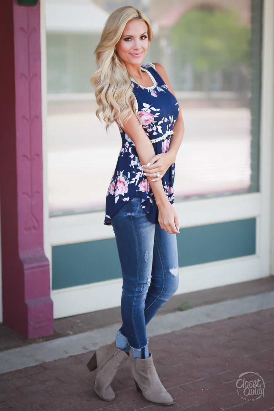 Closet Candy Boutique - In Full Bloom Top, cute floral sleeveless tank top for spring and summer outfit
