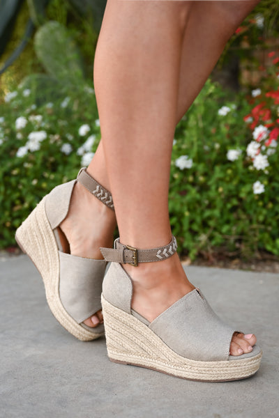 True To Your Heart Wedges - Taupe womens platform wedge peep toe sandals closet candy side
