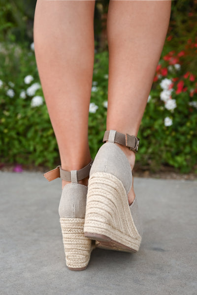 True To Your Heart Wedges - Taupe womens platform wedge peep toe sandals closet candy back