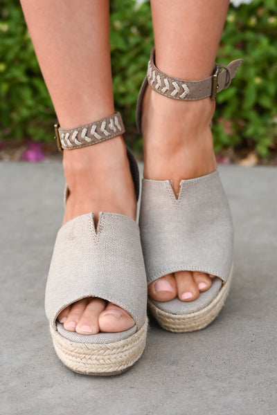 True To Your Heart Wedges - Taupe womens platform wedge peep toe sandals closet candy front