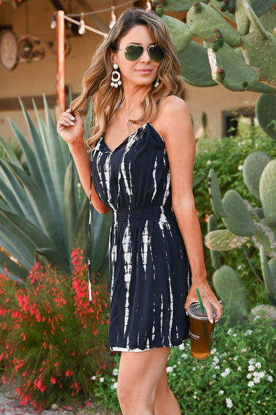 Opposites Attract Dress - Navy women's tie dye mini summer dress closet candy  side