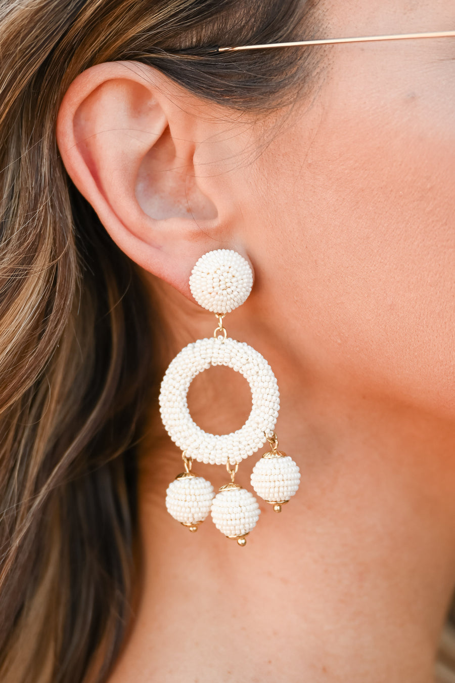 Ton O Fun Beaded Earrings - Ivory womens trendy beaded drop earrings closet candy side