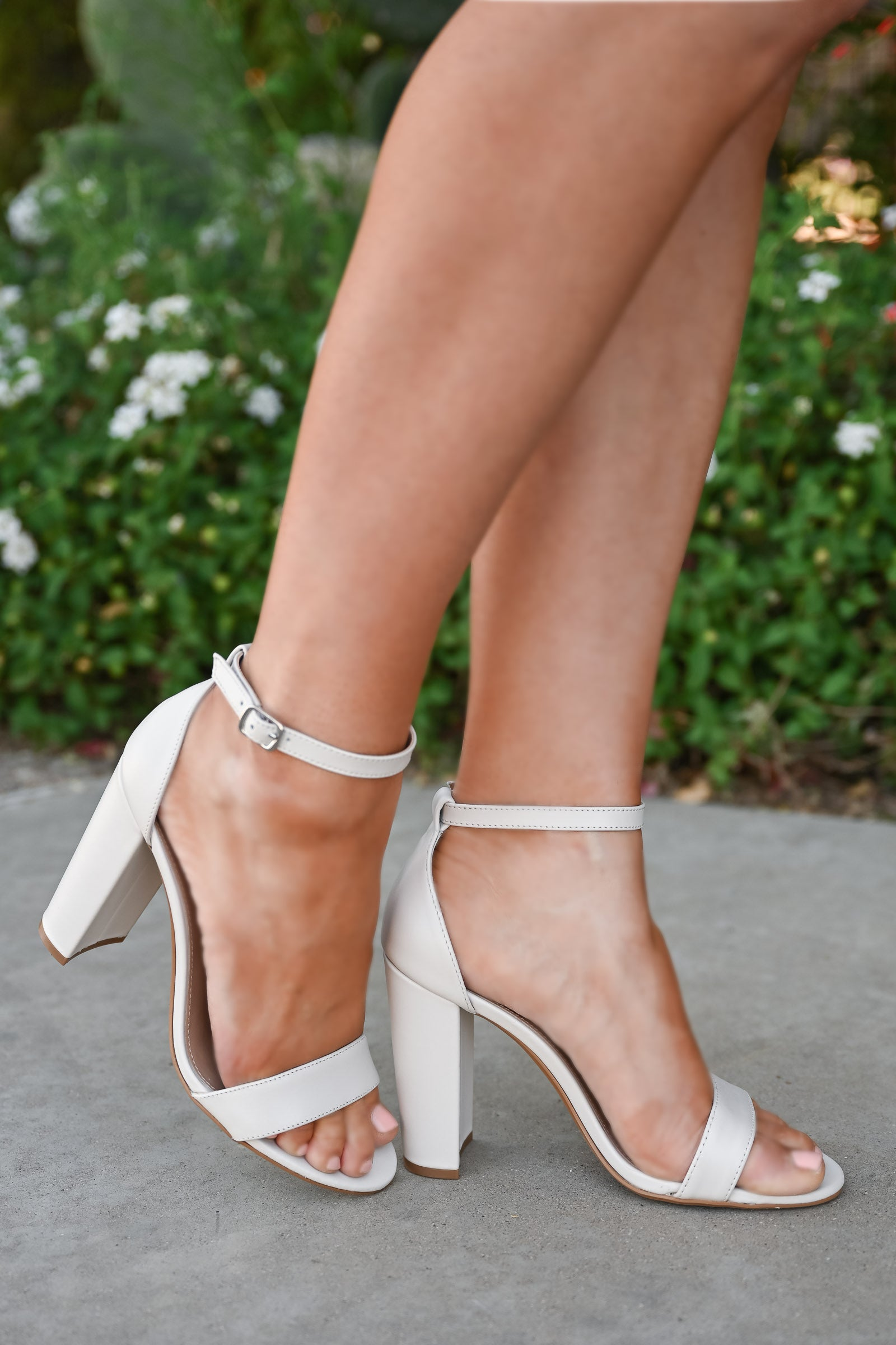 STEVE MADDEN Carrson Heels - Bone Leather womens trendy block high heels closet candy side