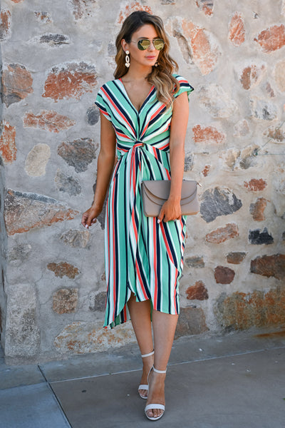 Wishful Thinking Dress - Mint womens trendy striped modest midi dress closet candy front
