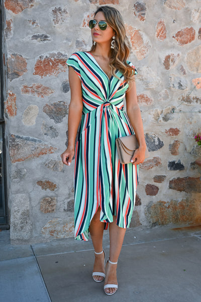 Wishful Thinking Dress - Mint womens trendy striped modest midi dress closet candy  front3