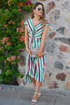 Wishful Thinking Dress - Mint womens trendy striped modest midi dress closet candy  front2