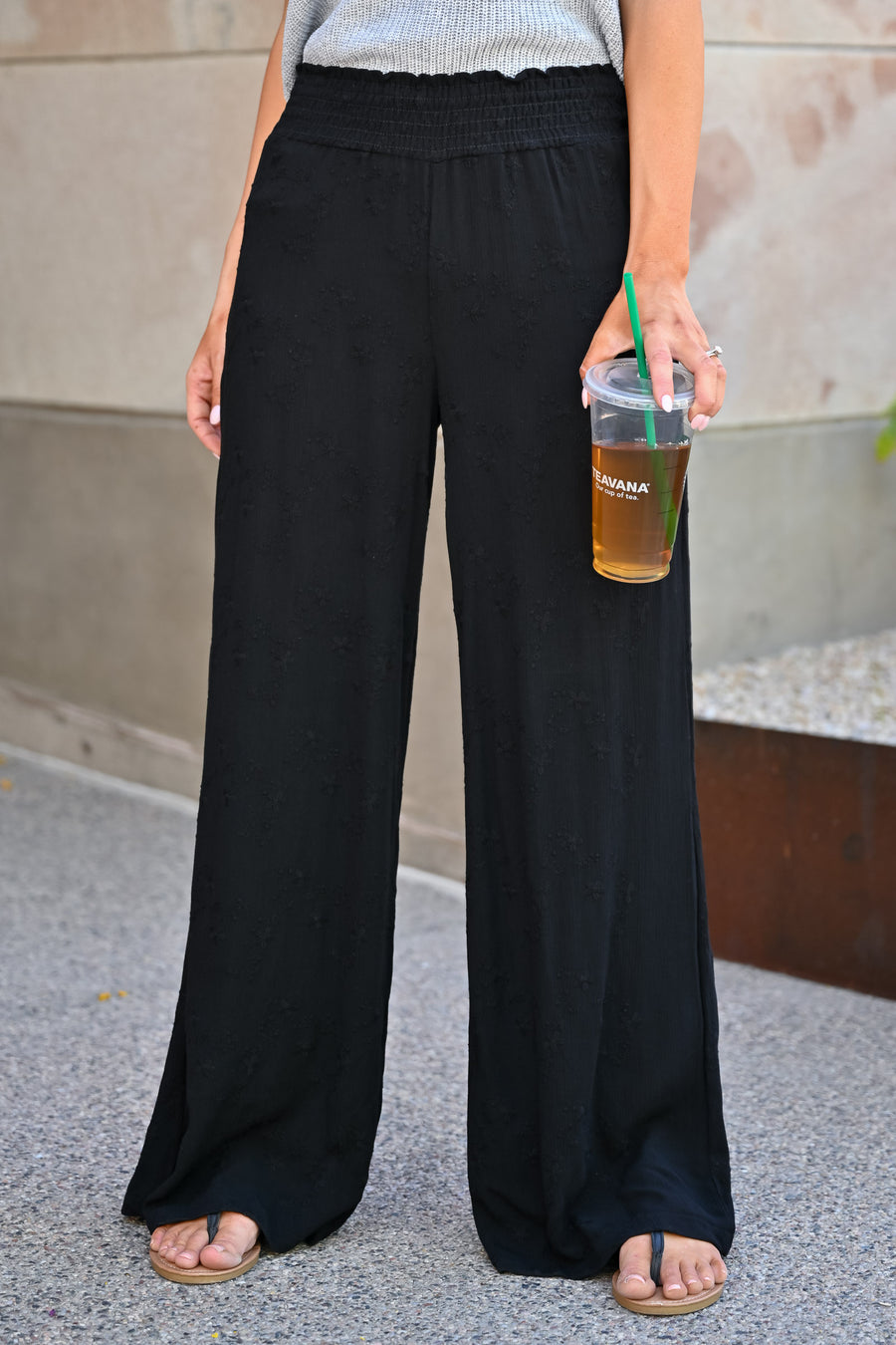 Dreamer Embroidered Wide Leg Palazzo Pants - Black