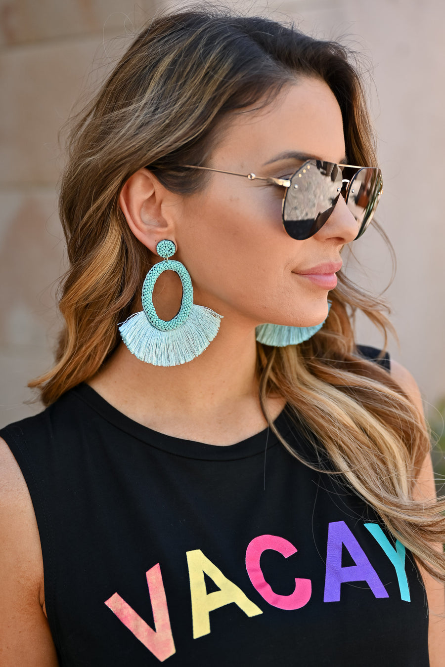 Making A Statement Earrings - Turquoise womens trendy fringe earrings closet candy 1