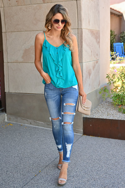 Easy Breezy Ruffle Tank Top - Turquoise