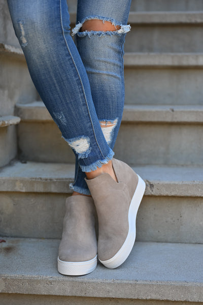 STEVE MADDEN Wrangle Wedge Sneakers - Taupe women's hidden wedge slip on sneakers closet candy front