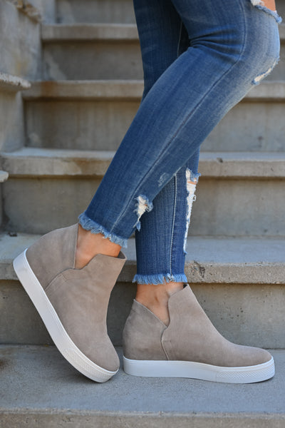 STEVE MADDEN Wrangle Wedge Sneakers - Taupe women's hidden wedge slip on sneakers closet candy side