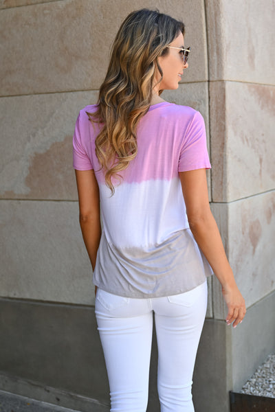 High Tides Ombre Top - Blush womens casual color block short sleeve top closet candy back