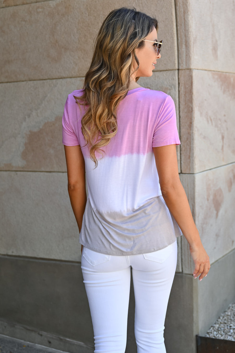 High Tides Ombre Top - Blush womens casual color block short sleeve top closet candy front 1
