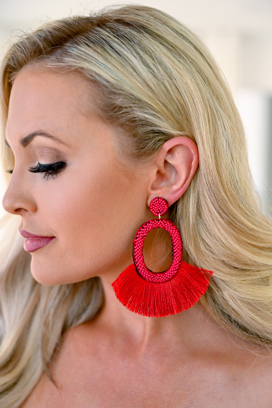 Making A Statement Earrings - Red womens trendy tassel statement earrings closet candy 1