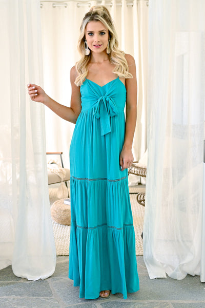 By The Shore Maxi Dress - Turquoise women's trendy long dress with bow front closet candy front2