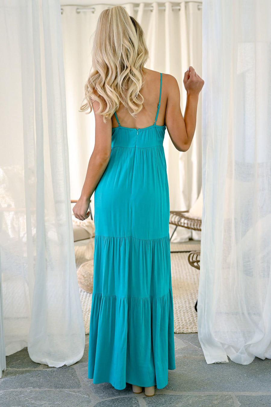 By The Shore Maxi Dress - Turquoise women's trendy long dress with bow front closet candy front