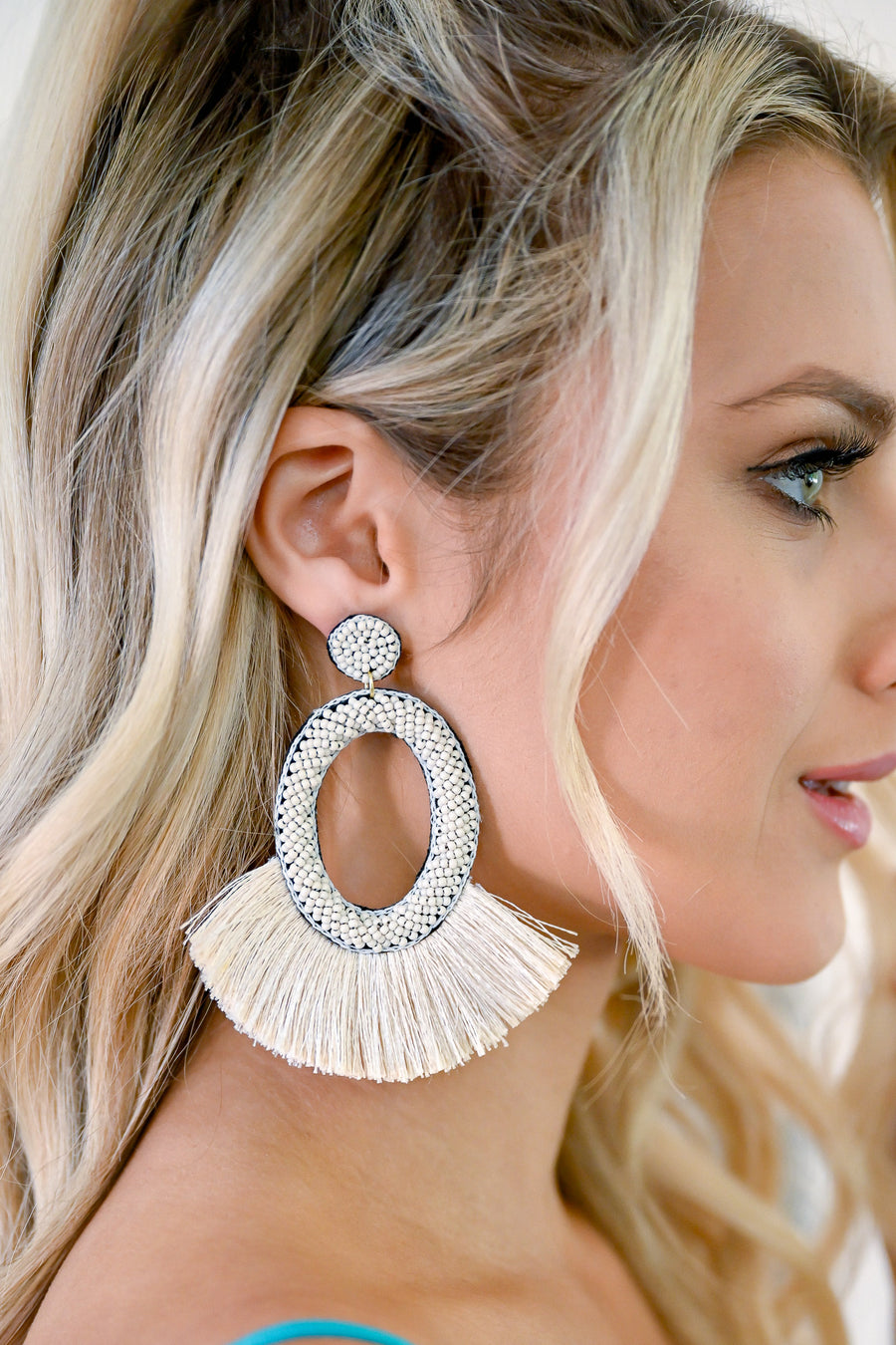 Making A Statement Earrings - Ivory oval beaded earrings with fringe closet candy 1