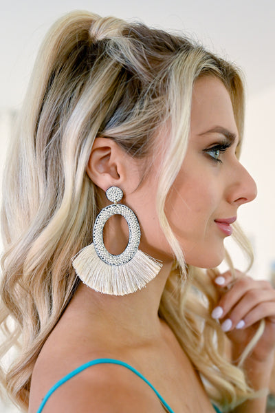 Making A Statement Earrings - Ivory oval beaded earrings with fringe closet candy 3