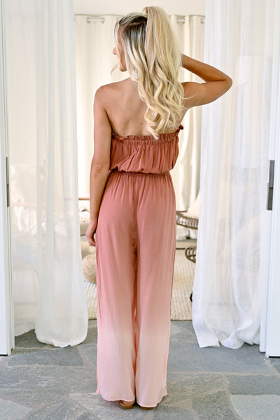 In The Record Room Ombre Jumpsuit - Brick womens strapless trendy ombre jumper closet candy back