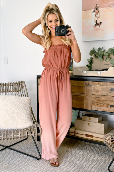 In The Record Room Ombre Jumpsuit - Brick womens strapless trendy ombre jumper closet candy 4