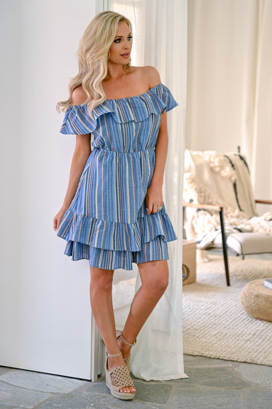 What It's All About Dress - Blue muti-color stripe print women's off the shoulder dress closet candy front