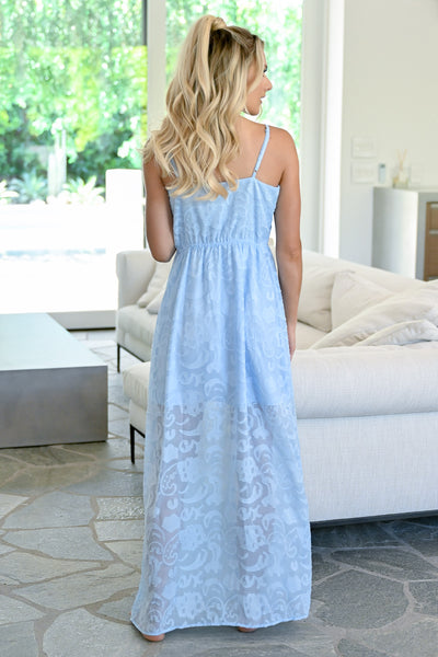 Head In The Clouds Maxi Dress - Sky womens button down floral maxi dress closet candy back