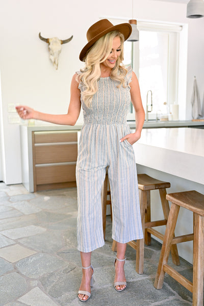 Stagecoach VIP Striped Jumpsuit - Taupe womens trendy wide leg capri jumper closet candy front2