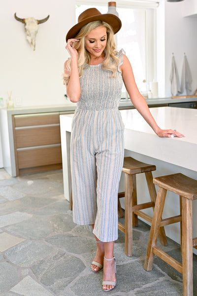 Stagecoach VIP Striped Jumpsuit - Taupe womens trendy wide leg capri jumper closet candy front
