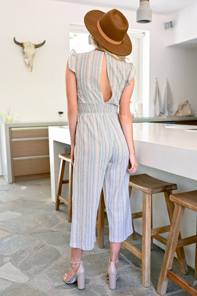 Stagecoach VIP Striped Jumpsuit - Taupe womens trendy wide leg capri jumper closet candy back