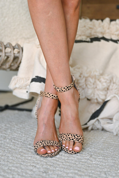 Fierce Competition Print Block Heels - Leopard ankle strap chunky heels closet candy front