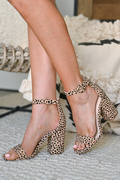 Fierce Competition Print Block Heels - Leopard ankle strap chunky heels closet candy walking