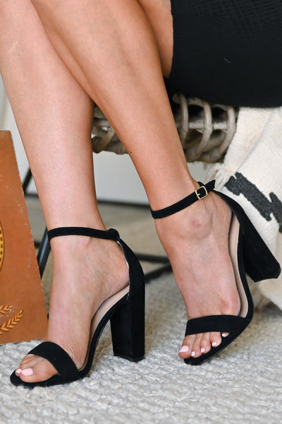STEVE MADDEN Carrson Heels - Black Suede classic black strappy heel closet candy 3