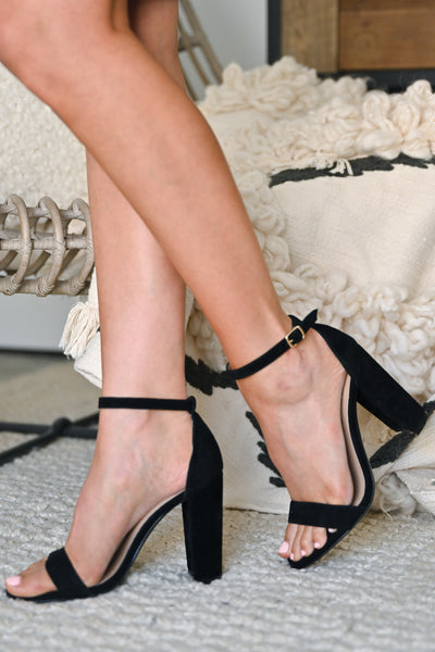 STEVE MADDEN Carrson Heels - Black Suede classic black strappy heel closet candy 1