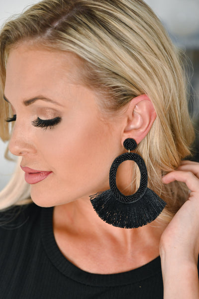 Making A Statement Earrings  - Black womens trendy statement earrings closet candy Front