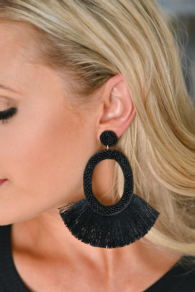 Making A Statement Earrings  - Black womens trendy statement earrings closet candy closeup