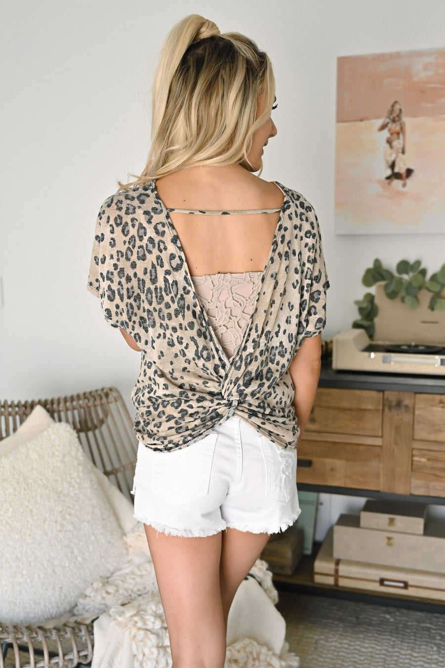 Back For More Top - Leopard womens twist back short sleeve top closet candy sitting