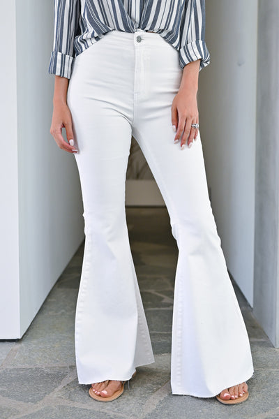 Fit N Flare Jeans - White bell bottom jeans closet candy front 2
