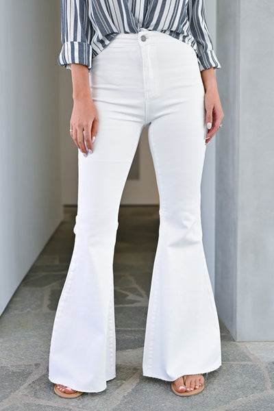 Fit N Flare Jeans - White bell bottom jeans closet candy front