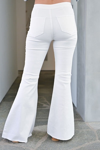 Fit N Flare Jeans - White bell bottom jeans closet candy back