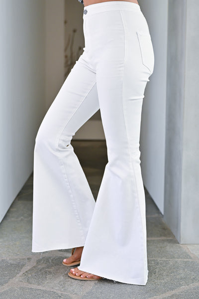 Fit N Flare Jeans - White bell bottom jeans closet candy side