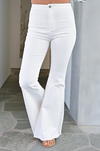 Fit N Flare Jeans - White bell bottom jeans closet candy front 3
