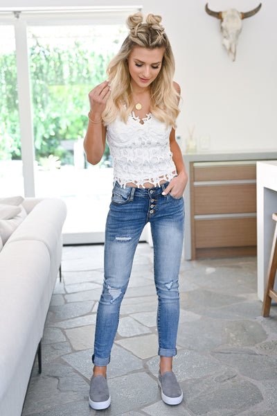KAN CAN Girlfriend Jeans - Sienna Wash womens trendy exposed button denim pants closet candy outfit1
