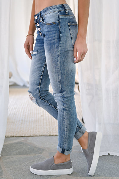 KAN CAN Girlfriend Jeans - Sienna Wash womens trendy exposed button denim pants closet candy side2