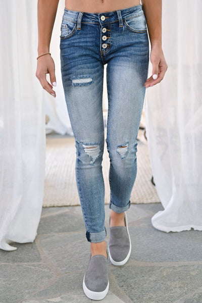 KAN CAN Girlfriend Jeans - Sienna Wash womens trendy exposed button denim pants closet candy front2