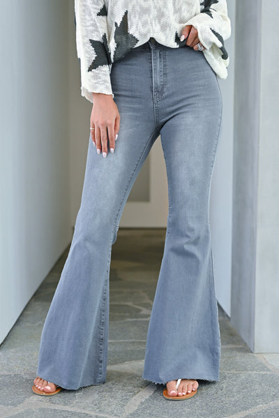 Fit N Flare Jeans - Charcoal bell bottom jeans closet candy front 2